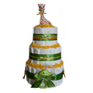 3 Tier Yellow Deluxe Organic Diaper Cake