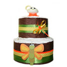 2 Tier Dragon Fly Organic Diaper Cake